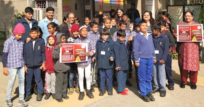Nupur Sandhu (second from right) with children at the National Blind School.