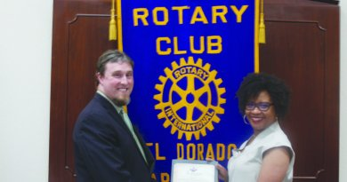 Milestone: El Dorado Rotary Club President Caleb Baumgardner receives a city proclamation from El Dorado Mayor Veronica Smith-Creer in honour of the club's 100th year anniversary.