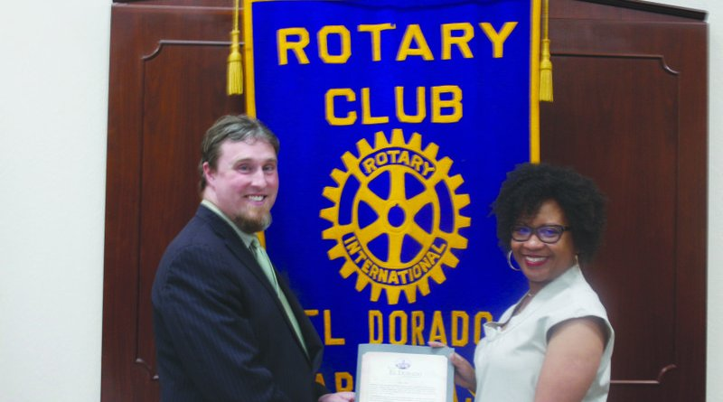 Milestone: El Dorado Rotary Club President Caleb Baumgardner receives a city proclamation from El Dorado Mayor Veronica Smith-Creer in honour of the club's 100th year anniversary.