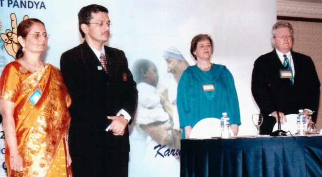 Dr Bharat Pandya and Madhavi with then RIPR Mark Maloney and Gay at the Dare 2 Dream conference in 2007.