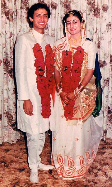 Kamal and Sonal Sanghvi on their wedding day.