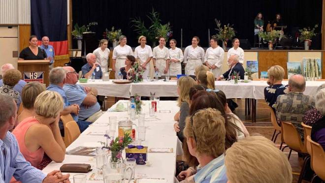 Wingham Rotary Club congratulating the Wingham High School students who catered the meal.
