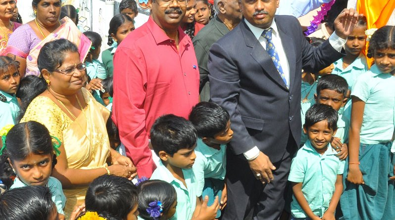 DG R V N Kannan inaugurating the  drinking water facility in the school.