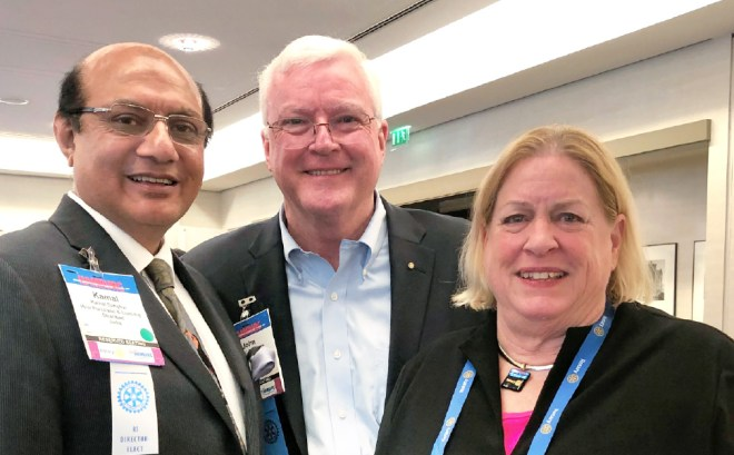 From L: RIDE Kamal Sanghvi, RI Vice President John C Matthews and Mary Ellen Matthews.