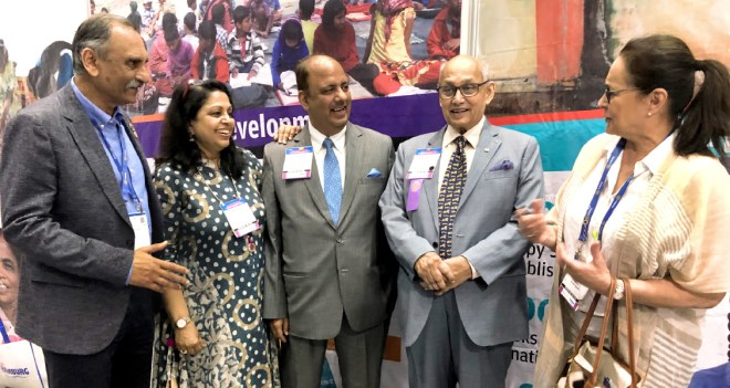 (From L) Nayan Patel, Rashi, PRID Shekhar Mehta, PRIP Kalyan Banerjee and Margaret, wife of RI General Secretary John Hewko.