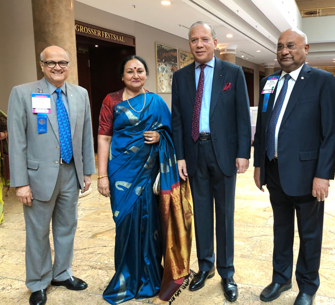 From L: TRF Trustee Gulam Vahanvaty, Vanathy, PRIP K R Ravindran and RID C Basker.