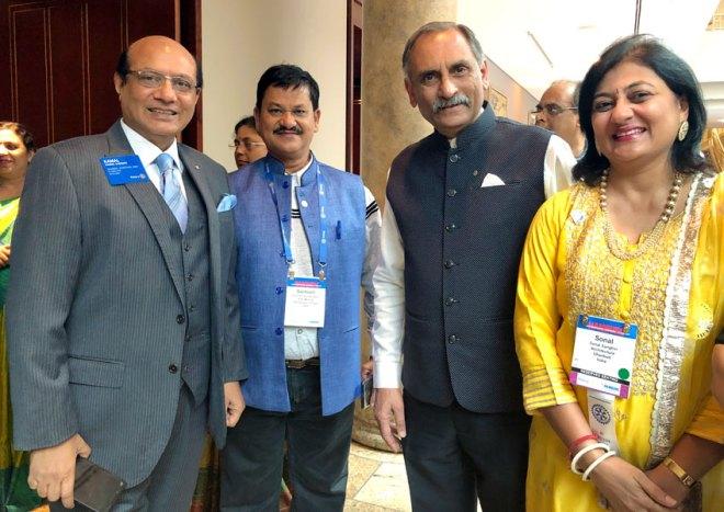 From L: RIDE Kamal Sanghvi, Rtn Santosh Kumar Sahu, Nayan Patel and Sonal Sanghvi.