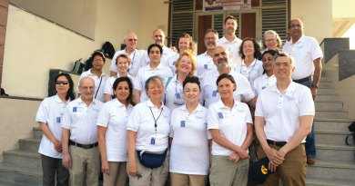 Rotaplast Project Chair Rahul Wadhwa (last row, right) along with the ­Medical Mission team from the US. Also seen are Medical Director Karla ­Werninghaus (left, second row) and Mission Director Brian L Walker (left, third row).