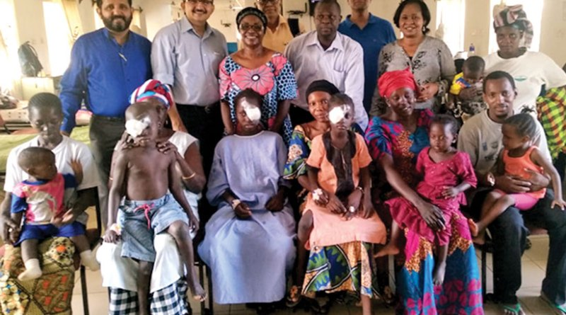 The Indian medical team with beneficiaries at the Gambia, Africa.