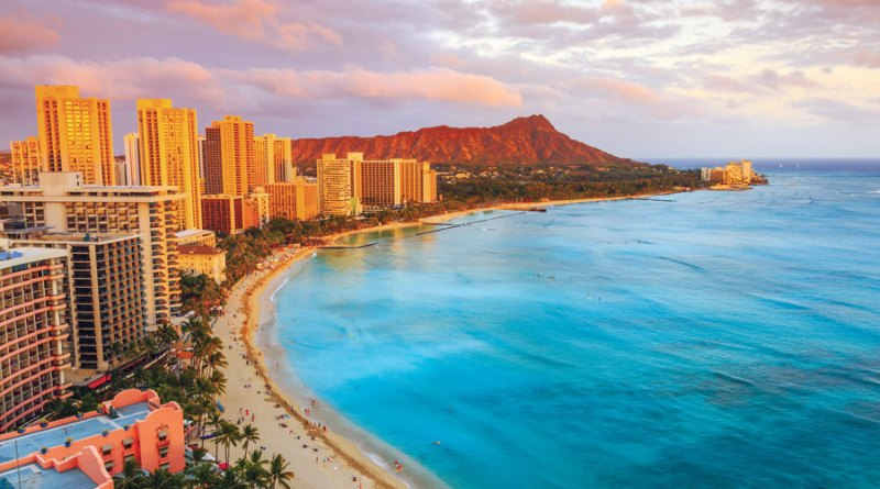 On Oahu's South Shore, Diamond Head overlooks Waikiki Beach and the Pacific Ocean.