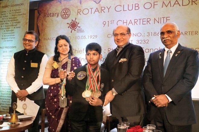 From L: RC Madras Secretary M Sesha Sai, its President Dr Vijaya Bharathi Rangarajan, RID Kamal Sanghvi and PDG JB Kamdar with Rotary Kris Chitale Young Achiever Award winner PV Sai Srinivasan.