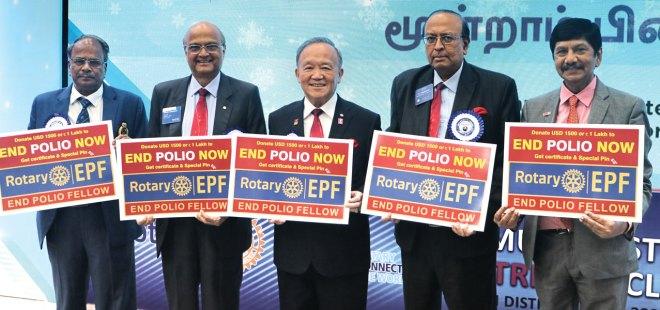 From L: DG G Chandramohan, TRF Trustee Gulam Vahanvaty, TRF Trustee Chair Gary Huang, PRID P T Prabhakar and PDG EK Sagadhevan promoting the End Polio Fellow programme.