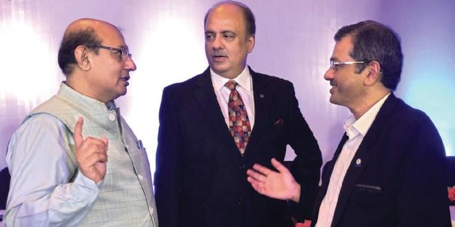 RIPN Shekhar Mehta with RIDs Kamal Sanghvi and Bharat Pandya.