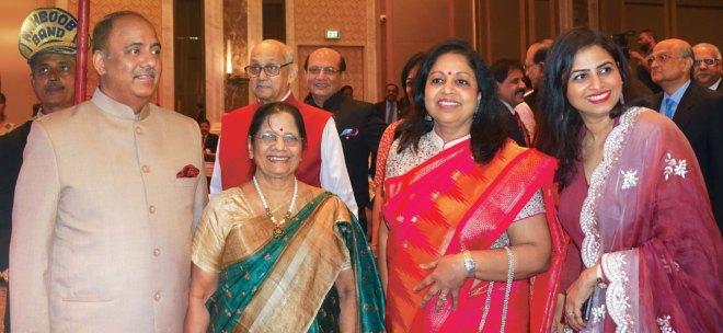 RIPN Shekhar Mehta with his mother Vallabh Kumari, wife Rashi and daughter-in-law Geeta. PRIP Kalyan Banerjee, RID Kamal Sanghvi, TRF Trustee Gulam Vahanvaty and PRID Manoj Desai are also seen.