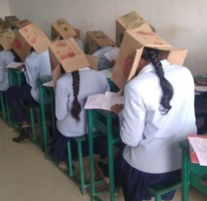 Writing out-of-the-box A college in Karnataka was issued showcause notice for a weird experiment. When students of the Bhagat PU College in Haveri arrived for their midterm exam, they were given modified cartons to wear over their heads. The college administrator had devised this demeaning attempt to check copying among students. The cartons had opening on one side to enable the students to see their answer sheets and not on the sides. The administrator landed in trouble after he posted on WhatsApp a picture of the students writing their exams with these contraptions. When brought to the notice of the Deputy Director of Pre-University Education, he immediately visited the college and stopped the students' torture.