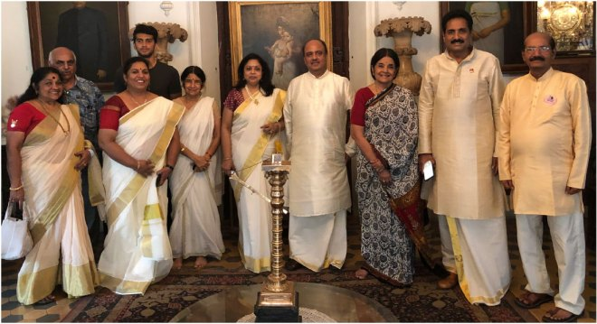 RIPN Shekhar Mehta and Rashi with the siblings Gouri Aswathi and Gouri Pooyam of the Travancore Royal family. Also seen are PDG John Daniel (second from R), his wife Meera (second from L) and Rtn Vijayalakshmi Nair.
