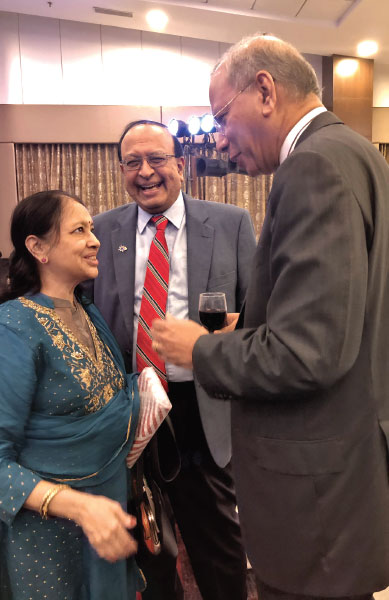 TRF Trustee Chair-elect K R Ravindran shares a lighter moment with Nalini and PRID P T Prabhakar.