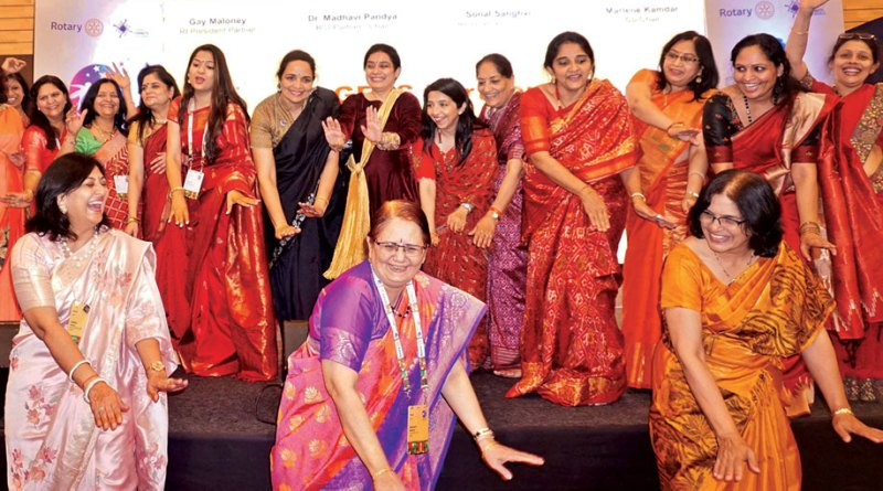 Sonal Sanghvi and Madhavi Pandya participate in a dance practice for the International Assembly by DGE spouses.