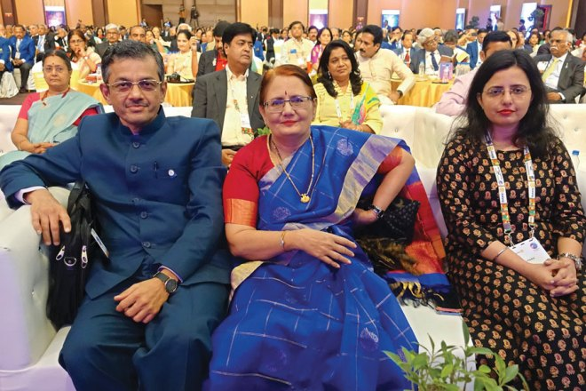 RID Bharat Pandya, Madhavi and their daughter Nidhi. Mala Basker, RIDN AS Venkatesh and his wife Vinita are also seen in the picture.