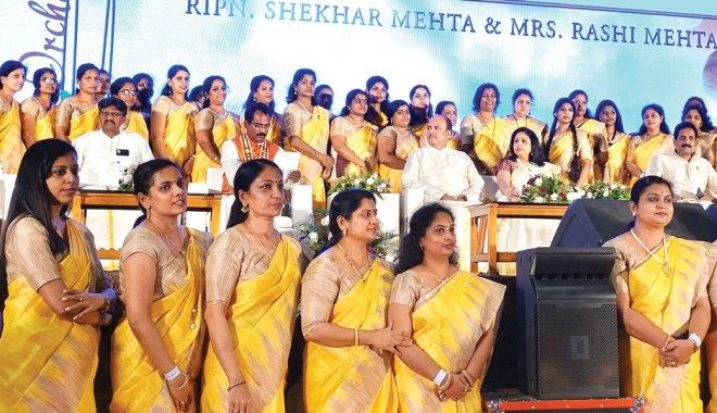 RIPN Shekhar Mehta and Rashi with (from L) DGs S Sheik Saleem (D 3212), Shirish Kesavan (D 3211) and PDG John Daniel.