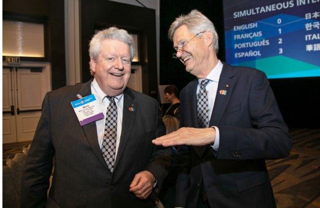 RI President Mark Maloney with RIPE Holger Knaack.