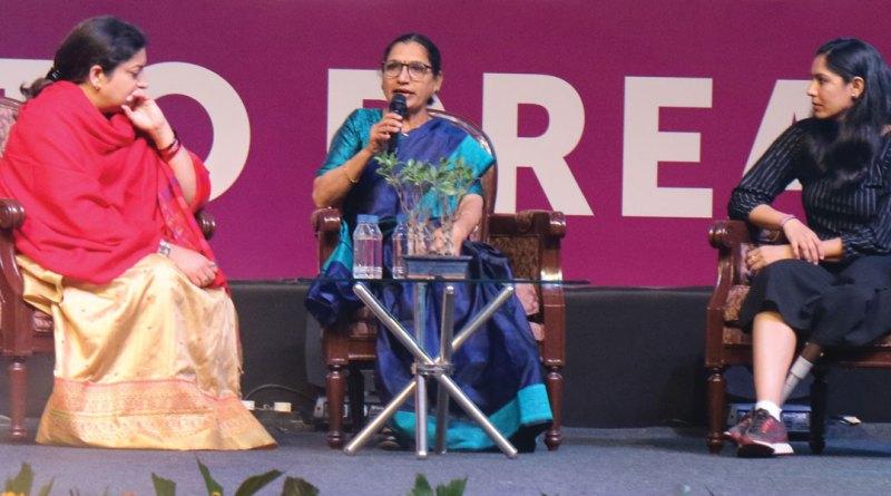 From L: Union Minister of Women and Child Development Smriti Irani, Rescue Foundation Founder Triveni Acharya and Para-badminton World Champion Manasi Joshi.