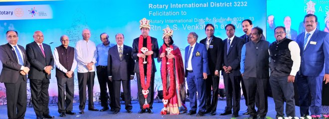 From L: PDG ISAK Nazar, PRID C Basker, Trustee Vahanvaty, Trustee Chair-elect Ravindran, PRID P T Prabhakar, RIPN Mehta, RIDN Venkatesh, Vinita, DG Chandramohan, DGE Muthupalaniappan, DGN Sridhar, DGND Dr Nandakumar, AG Balasubramanian, Club Service Director Dr Shankaran and District Secretary Ganapathy Suresh.