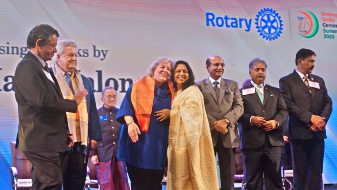 From L: RID Pandya, President Maloney, TRF Trustee Chair Gary Huang, Gay, Rashi, RID Kamal Sanghvi, Summit Chair Vinod Bansal and Secretary Kishore Kumar Cherukumalli.
