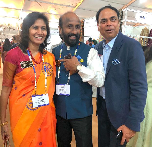 DG Madhav Chandran, RID 3201, with spouse Sujatha and PDG Sanjay Khemka.