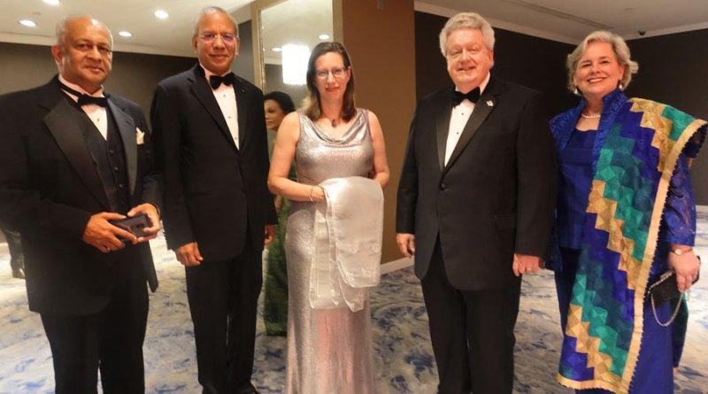 From L: Rtn Kumar Nadesan, TRF Trustee Chair Elect KR Ravindran, US Ambassador to Sri Lanka Alaina Teplitz, RI President Mark Maloney and Gay.