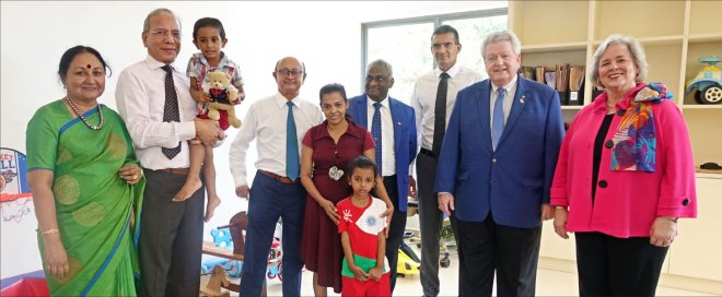 RI President Mark Maloney and Gay with Vanathy, TRF Trustee Chair Elect KR Ravindran, RC Colombo West member Ajay Amalean, DG Sebastian Karunakaran and RC Colombo West President Pravir Samarasinghe at the Ayathi Trust.