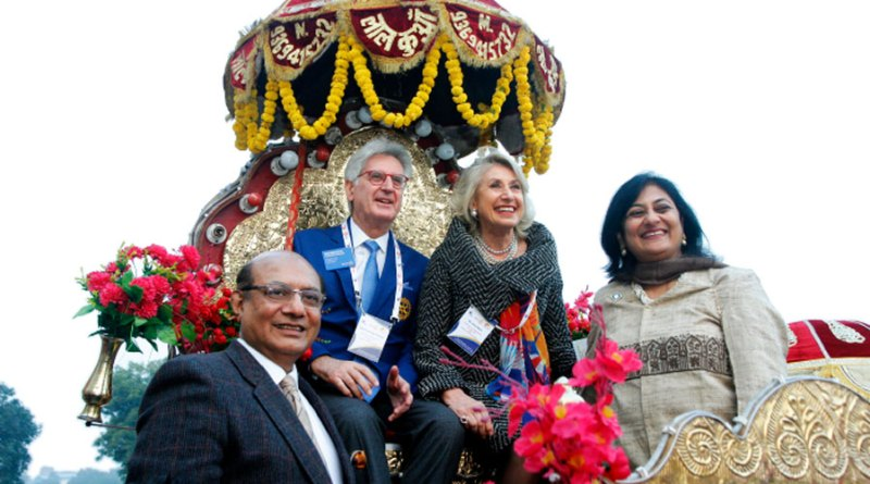 RIPR Franceso Arezzo and his wife Anna Maria being given a grand welcome to the district conference. RID Kamal Sanghvi and Sonal are also in the picture.