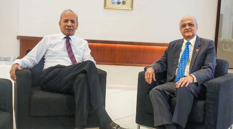 Incoming TRF Trustee Chair KR Ravindran and TRF Trustee Gulam Vahanvaty.