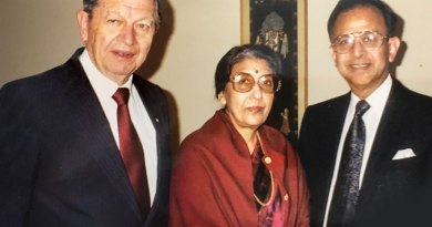 PRIP Rajendra Saboo and his wife Usha with PRIP Clem Renouf.