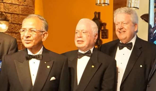 From R: File photo of PRIP Mark Maloney, PRID Sushil Gupta and PRIP Rajendra Saboo at a Black Tie Dinner in Mumbai to honour AKS members.