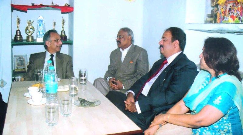 PRIP Rajendra Saboo at the Rotary Hooghly Eye Hospital with PDG Anirudha Roy Chowdhury, RIPE Shekhar Mehta and Rashi.