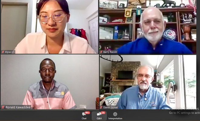 Clockwise from top L: Rtr Elyse Lin, PRIP Rassin, Elevate Task Force Chair Stovall and Rtn Ronald Kawaddwa in a Breakout session during the RI Virtual Convention.