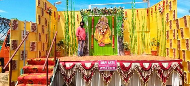 Mobile wedding halls With wedding halls across the State remaining closed due to Covid scare, A Abdul Hakkim, an art designer in Udumalpet, a semi-urban town in Tamil Nadu, has designed a 'mobile wedding hall' to provide the wedding celebration experience. He has transformed a truck into a wedding dais and this mobile wedding hall is driven to the location preferred by the clients. He, along with his team, provides seating arrangement for 50 guests as mandated by the government. Masks and sanitisers are also provided for the guests.