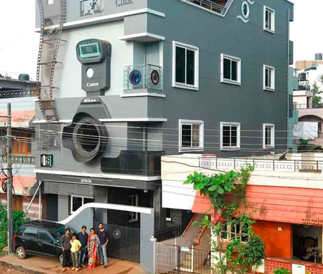 A camera-obsessed photographer Photographer Ravi Hongal's newly built home in Belgaum, Karnataka, is an expression of his passion for his profession. The three-storeyed building shaped like a DSLR camera and named 'Click' has a glass window similar to a viewfinder; another window is shaped like a camera lens. The building also sports a wide film strip and even a memory card. The walls and the interiors are decorated with graphics related to photography. Hongal's three sons are named Canon, Nikon and Epson after the iconic camera brands!