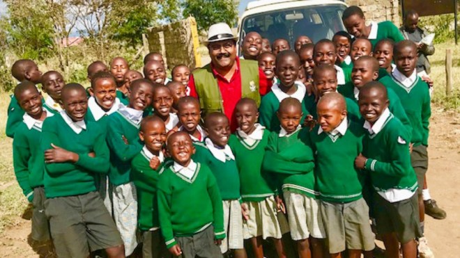 Hari Kishan Valmiki with children in an orphanage in Naivasha, Kenya.