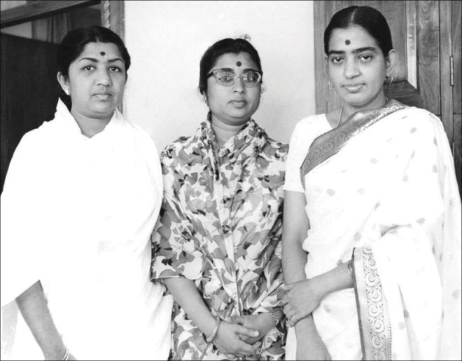 From L: Lata Mangeshkar, her sister Usha Mangeshkar and South Indian playback singer P Susheela.