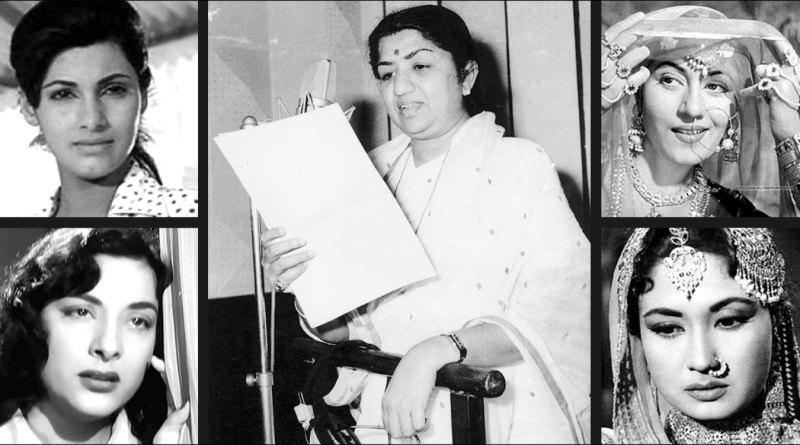 Lata Mangeshkar has sung for (clockwise from top) Dimple Kapadia, Madhubala, Meena Kumari and Nargis.
