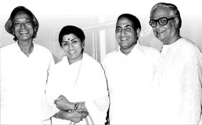 From L: Naushad, Lata, Mohammed Rafi and Majrooh Sultanpuri.