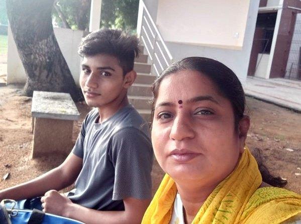 Uma Devi with her son.