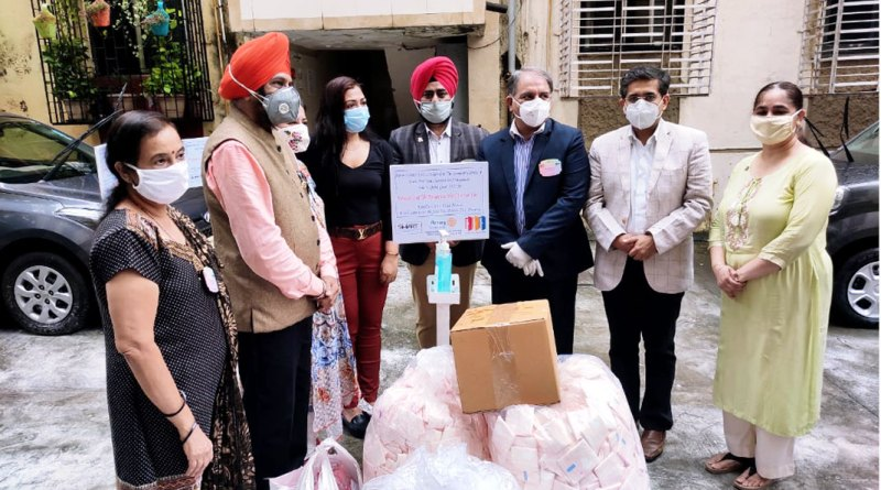 (L to R): RC Bombay Mahakali Heights community services director Kiran Srivastava, Satinderpal Ahluwalia, Pinkky Rajgarhiya from the Chingari Foundation, club president Gurpreet Singh Uppal, DG Sunnil Mehra, project coordinator Dr Manish Motwani and Verinder Kaur Uppal with the materials collected for the underprivileged girls.