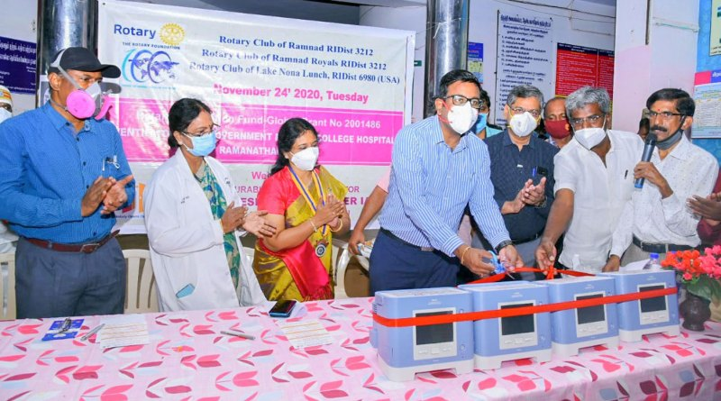 Ventilators being handed over to the Ramanathapuram Government Medical College Hospital.