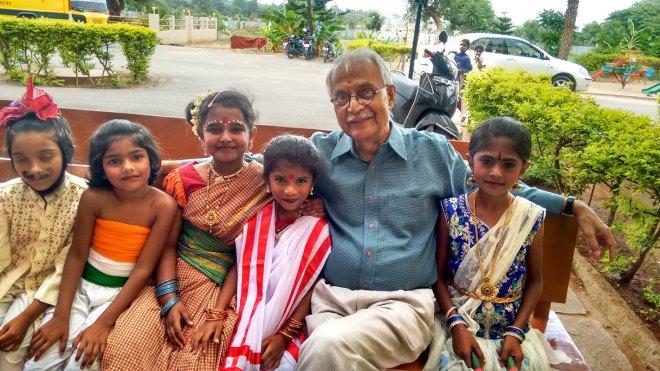 Vijay Padaki, Trustee Emeritus, Bangalore Little Theatre, with child artistes.