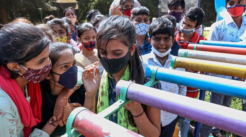 Students experimenting with acoustics at the Jawaharlal Nehru Planetarium in Bengaluru.