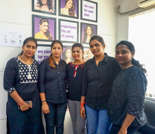 Course coordinator Rajini Bala (L) and trainer Vimala S (R) with their students.