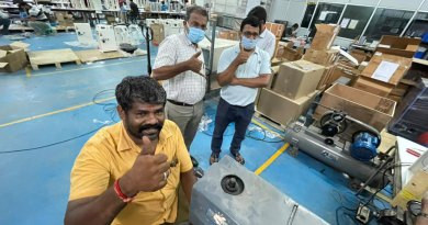 Rotarians overseeing the manufacture and testing of oxygen concentrators at an assembling unit.